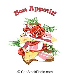 Sandwich - Big Sandwich and lettering Bon Appetit Isolated...