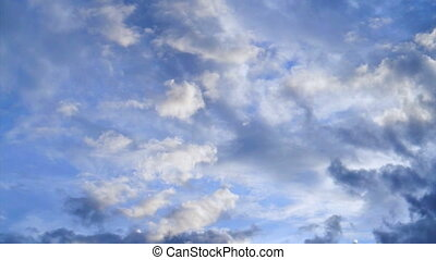 Pan shot Beautiful cloudy blue sky