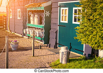 Facade of authentic Holland old house in Zaanstad village....