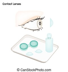 Contact Lenses, Storage Case and Solution Bottle -...