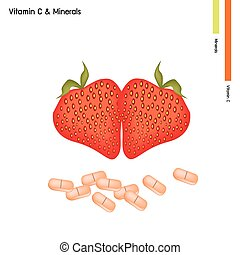 Strawberries with Vitamin C on White Background - Healthcare...