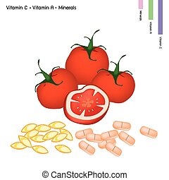 Tomatoes with Vitamin C and Vitamin A - Healthcare Concept,...