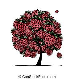 Raspberry tree, sketch for your design. Vector illustration