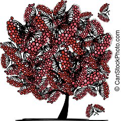Rowan tree, sketch for your design. Vector illustration