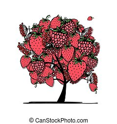 Tree with mix of red berries, sketch for your design