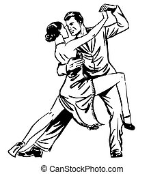 Man and woman dancing couple tango retro line art. Man and...