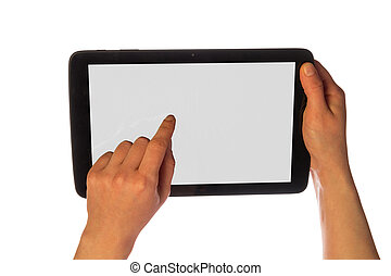 Hands using tablet pc