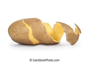 peeled potatoes with the skin on a white background