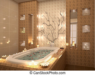3d illustration of bath with rose petals by candlelight. Relaxing atmosphere