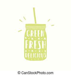 Green, fresh, delicious. Green jar silhouette. - Green,...