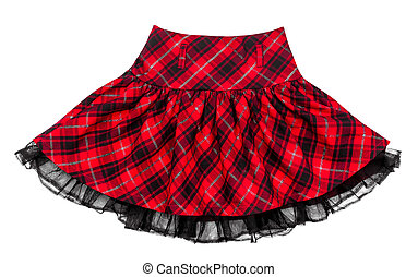 baby red plaid skirt isolated on white background
