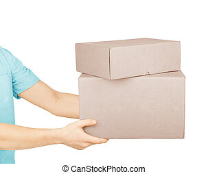 man's hand with cardboard boxes on white background