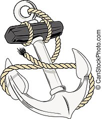 anchor - naval anchor with rope
