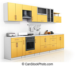 Modern kitchen on the thite background