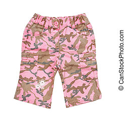 pink childrens camouflage pants isolated on white background...