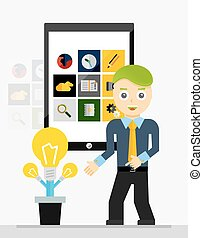 Mobile app startup idea. Young businessman showing growing plant of light bulbs