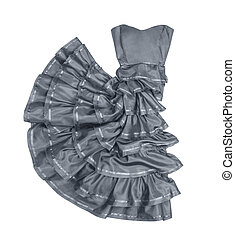 luxuriant gray strapless dress in movement on a white...