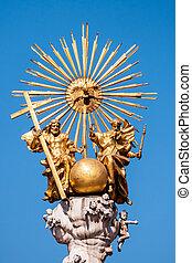 austria, linz, hauptplatz - austria, linz, main square, holy...