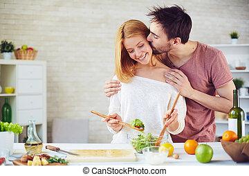 cozinheiro, beijo