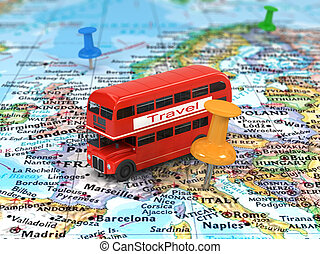 Image of travel concept. bus on world map