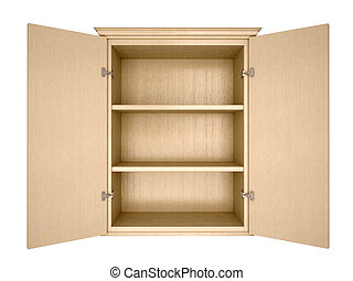 3d illustration of empty cupboard