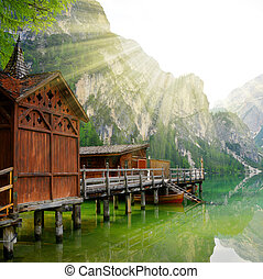 Boathouse at the Lago di Braies in Dolomiti Mountains