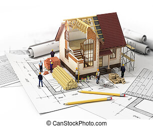 House with open interior on top of blueprints, documents and mortgage calculations and builders. Construction concept.