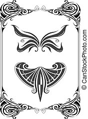 Art nouveau style design elements set - Retro style frame...