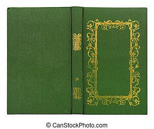 guld, läder, mönster, täcka, isolerat, bok, grön, bakgrund, vit