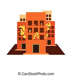 vectors set building fire colour and white on white back...