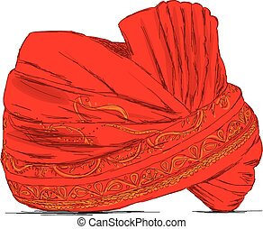 Indian Headgear Turban used in Marriages - Vector...