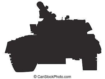 Arms tank on white - Big military tank on white background