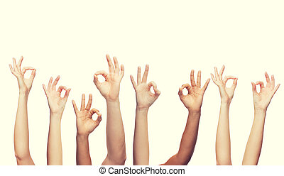 human hands showing ok sign - gesture and body parts concept...
