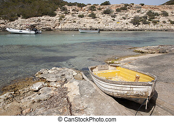 Boasts in Portinatx Port; Ibiza, Balearic Islands