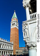 italy, venice. st. mark's square and campanile - the...