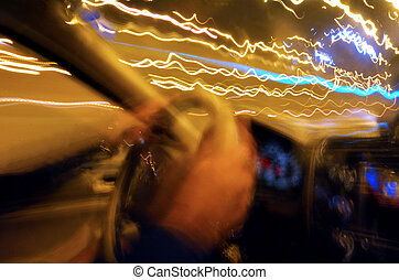 Drunk driver driving at night - Drunk driver inside car...