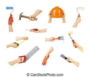costruzione, attrezzi, collezione, mani