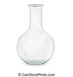 Laboratory glassware for liquids on white background.