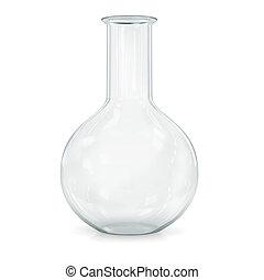 Laboratory glassware for liquids on white background.