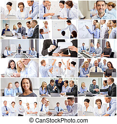 collage with many business people in office - success...