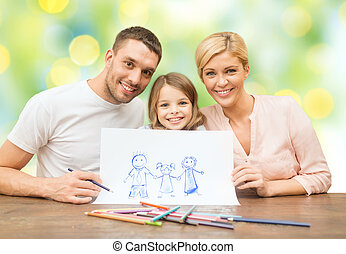 happy family with drawing pencils and picture - people,...