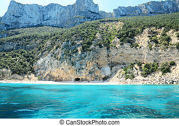 Cala Gonone coastline seen from the sea