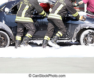 car full of foam after switching off of the fire on board
