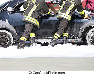 car full of foam after put off of the fire on board - car...