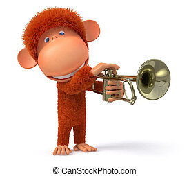 3d monkey blows the trumpet - MUSICAL improvisation on wind...