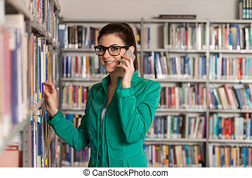 College Student Woman Using Mobile Phone