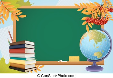 school autumn background with blackboard, globe, books and...