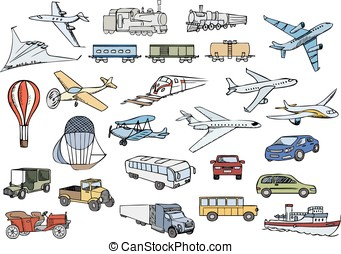 transportation over the world color vector set