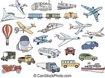 transport, över, den, värld, färg, vektor,...
