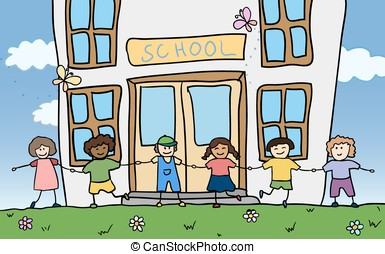happy children holding for hands near school vector